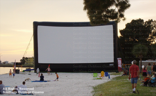 Southern Outdoor Cinema:  Outdoor Movie on a Beach in Tampa Florida