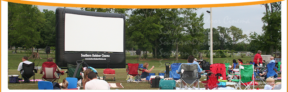 Crowds gather early for a Movies in the Park event in Tennessee.