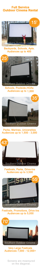 Multiple Inflatable Movie Screens in Multiple Sizes